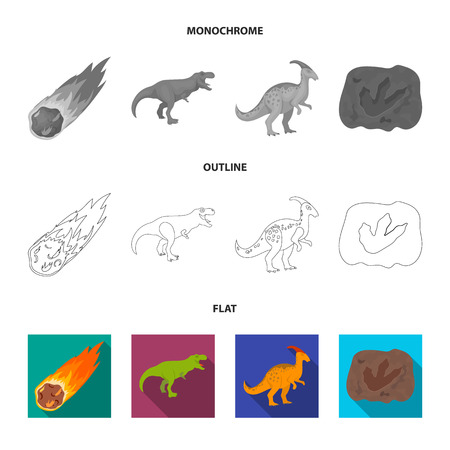 A falling meteorite,parasaurolophus, tyrannosaurus, an imprint of a dinosaur foot. The dinosaur and prehistoric period set collection icons in flat,outline,monochrome style vector symbol stock illustration web.