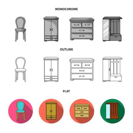 Armchair, cabinet, bedside, table .Furniture and home interiorset collection icons in flat,outline,monochrome style vector symbol stock illustration web. Illustration