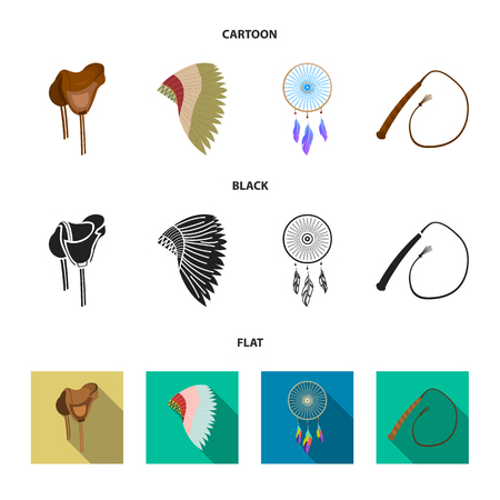 Saddle, Indian mohawk, whip, dream catcher.Wild west set collection icons in cartoon,black,flat style vector symbol stock illustration web.