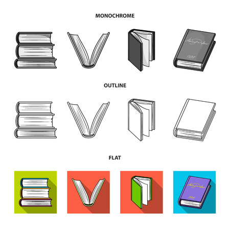 Various kinds of books. Books set collection icons in flat,outline,monochrome style vector symbol stock illustration web.