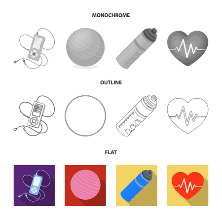 Player, a bottle of water and other equipment for training.Gym and workout set collection icons in flat,outline,monochrome style vector symbol stock illustration web.