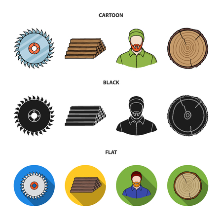 Circular saw, a working carpenter, a stack of logs. A sawmill and timber set collection icons in cartoon,black,flat style vector symbol stock illustration web.