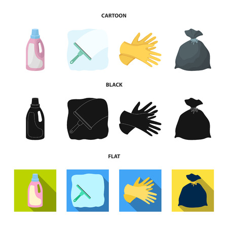 Gel for washing in a pink bottle, yellow gloves for cleaning, a brush for glass, a black bag for garbage or waste. Cleaning set collection icons in cartoon,black,flat style vector symbol stock illustration web.
