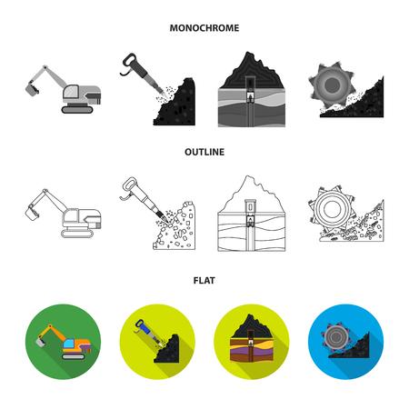 Pelle, tunnel, ascenseur, moissonneuse-batteuse de charbon et autres équipements.Mine définie des icônes de collection en plat, contour, style monochrome vecteur symbole stock illustration web