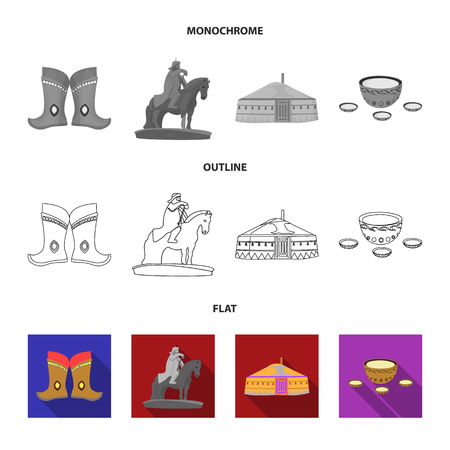 Military boots, a monument to the rider, a national tent, a milk drink. Mongolia set collection icons in flat,outline,monochrome style vector symbol stock illustration web.