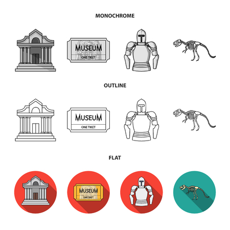 Picture, sarcophagus of the pharaoh, walkie-talkie, crown. Museum set collection icons in flat,outline,monochrome style vector symbol stock illustration web.