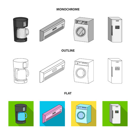 Home appliances and equipment flat,outline,monochrome icons in set collection for design.Modern household appliances vector symbol stock web illustration.