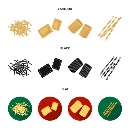 Different types of pasta. Types of pasta set collection icons in cartoon,black,flat style vector symbol stock illustration web.