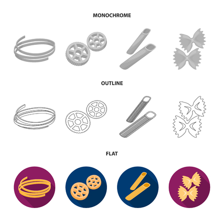 Different types of pasta. Types of pasta set collection icons in flat,outline,monochrome style vector symbol stock illustration web.