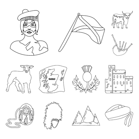 Country Scotland outline icons in set collection for design. Sightseeing, culture and tradition vector symbol stock web illustration.
