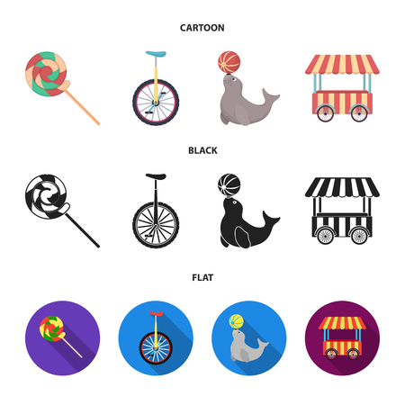 Lollipop, trained seal, snack on wheels, monocycle.Circus set collection icons in cartoon,black,flat style vector symbol stock illustration web. Иллюстрация