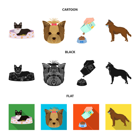 A dog in a lounger , a muzzle of a pet, a bowl with a feed, a sheepdog with a ball in his teeth. Pet ,dog care set collection icons in cartoon,black,flat style vector symbol stock illustration web. Иллюстрация