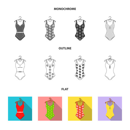 Different kinds of swimsuits. Swimsuits set collection icons in flat,outline,monochrome style vector symbol stock illustration web.
