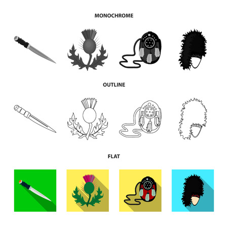 National Dirk Dagger, Thistle National Symbol, Sporran,glengarry.Scotland set collection icons in flat,outline,monochrome style vector symbol stock illustration web.
