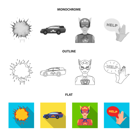 Explosion, fire, smoke and other web icon in flat,outline,monochrome style.Superman, superforce, cry, icons in set collection.