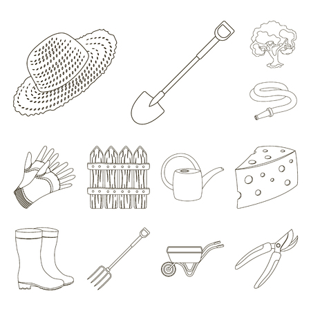 Farm and gardening outline icons in set collection for design. Farm and equipment vector symbol stock web illustration.