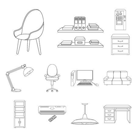 Interior of the workplace outline icons in set collection for design. Office furniture vector symbol stock web illustration. Ilustração