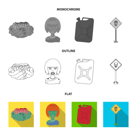 Zombies and Attributes flat,outline,monochrome icons in set collection for design. Dead man vector symbol stock  illustration.