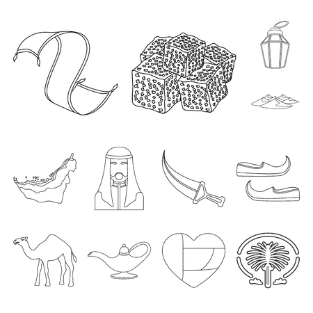 Country United Arab Emirates outline icons in set collection for design. Tourism and attraction vector symbol stock web illustration.