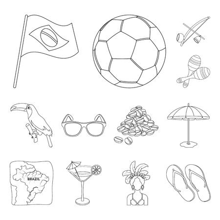 País Brasil esquema los iconos de colección set de diseño. Viajes y atracciones ilustración de stock de símbolo de vector de Brasil.