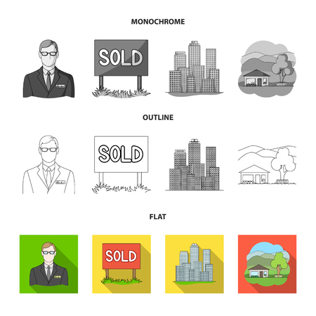 Employee of the agency, sold, metropolis, country house. Realtor set collection icons in flat,outline,monochrome style vector symbol stock illustration web.