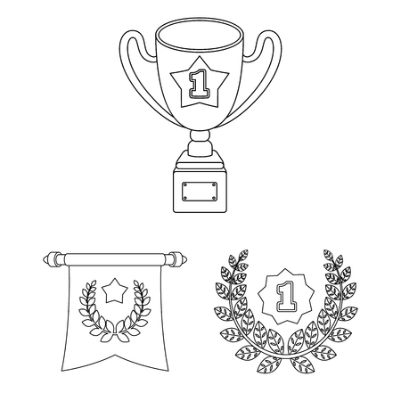 Awards and trophies outline icons in set collection for design.Reward and achievement vector symbol stock web illustration.