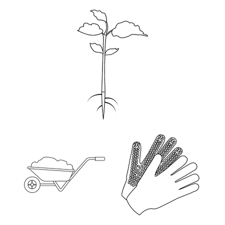 Farm and gardening outline icons in set collection for design. Farm and equipment vector symbol stock  illustration. Illustration