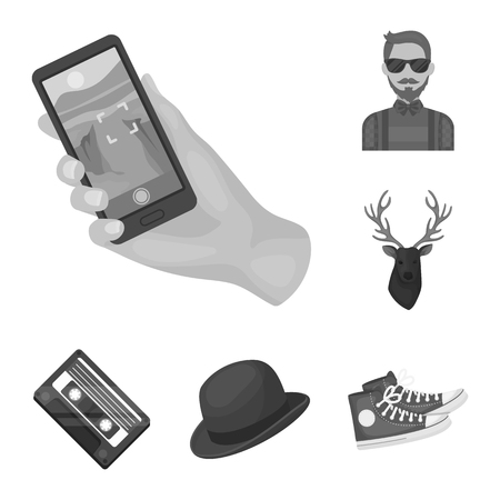 Style Hipster monochrome icons in set collection for design. Hipster Attributes and accessories vector symbol stock  illustration. Ilustrace