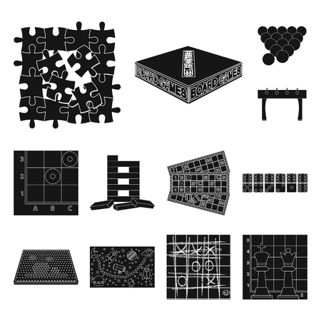 Board game black icons in set collection for design. Game and entertainment vector symbol stock illustration.