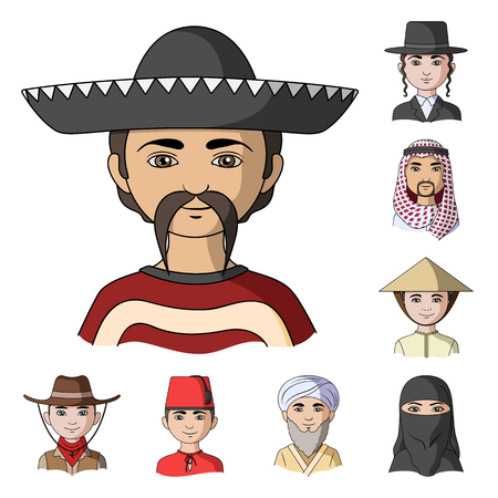 The human race cartoon icons in set collection for design. People and nationality vector symbol stock  illustration. Illustration