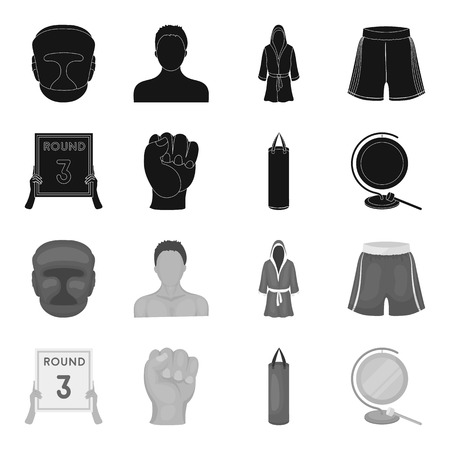 Boxing, sport, round, hand. Boxing set collection icons in black,monochrome style vector symbol stock illustration .