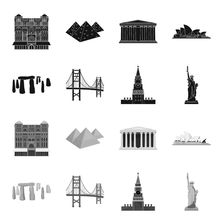 Sights of different countries black,monochrome icons in set collection for design. Famous building vector symbol stock  illustration.