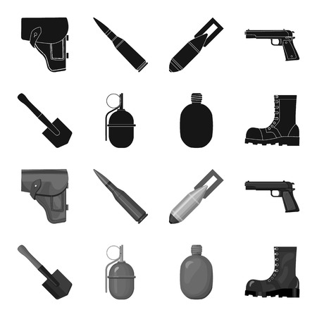 Sapper blade, hand grenade, army flask, soldier boot. Military and army set collection icons in black,monochrome style vector symbol stock illustration web.
