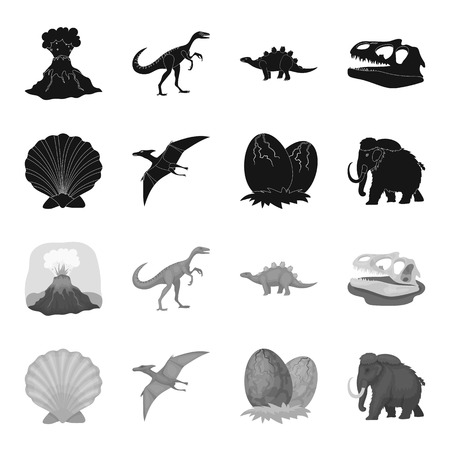 Prehistoric shell, dinosaur eggs,pterodactyl, mammoth. Dinosaur and prehistoric period set collection icons in black,monochrome style vector symbol stock illustration web.