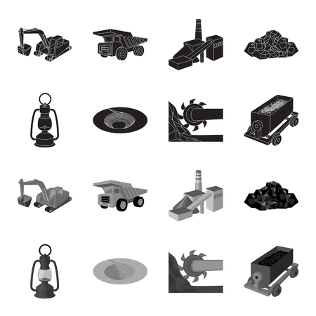A miner lamp, a funnel, a mining combine, a trolley with ore.Mining industry set collection icons in black,monochrome style vector symbol stock illustration web.