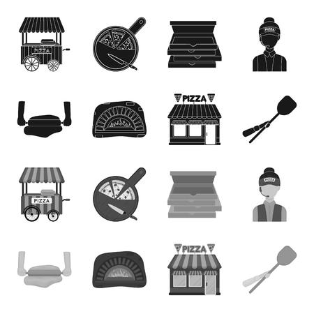 Masa para pizza, horno, edificio de pizzería, espátula para palanquillas. Pizza y pizzería establecen iconos de colección en estilo monocromo vector símbolo stock ilustración web.