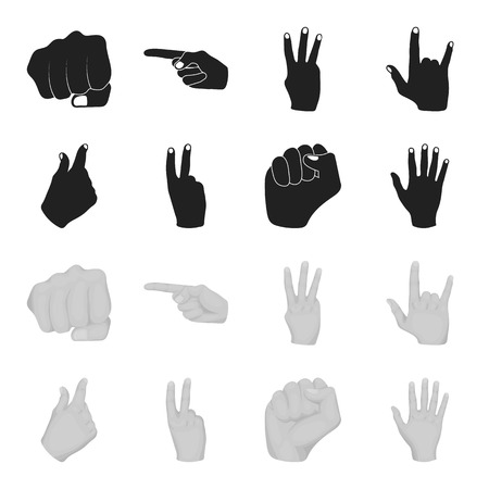 Open fist, victory, miser. Hand gesture set collection icons in black,monochrome style vector symbol stock illustration web.