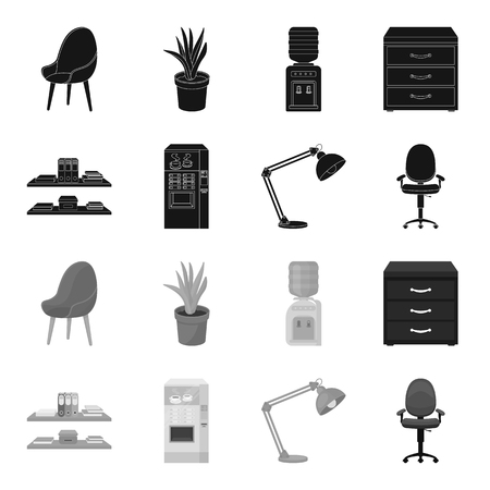 Shelves, folders and notebooks with business records, a coffee machine with cups, an armchair with a backrest on wheels, a desk lamp. Office Furniture set collection icons in black,monochrome style vector symbol stock illustration web.