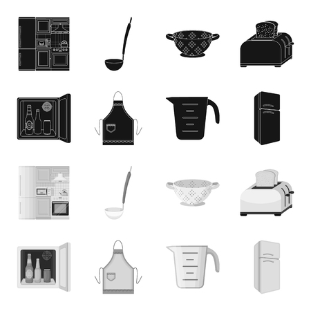 Kitchen equipment black,monochrome icons in set collection for design. Kitchen and accessories vector symbol stock web illustration. Ilustrace