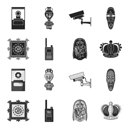 Picture, sarcophagus of the pharaoh, walkie-talkie, crown. Museum set collection icons in black,monochrome style vector symbol stock illustration web.