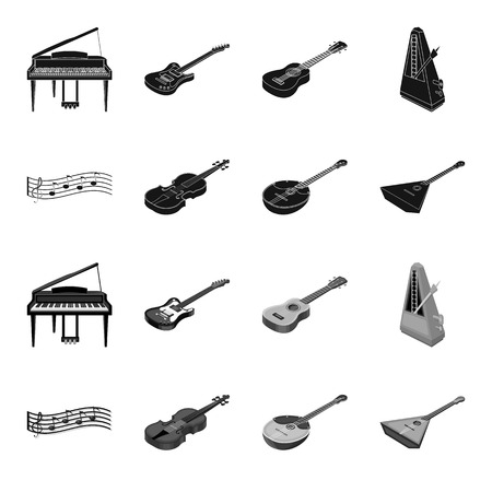 Musical instrument black,monochrome icons in set collection for design. String and Wind instrument isometric vector symbol stock web illustration.