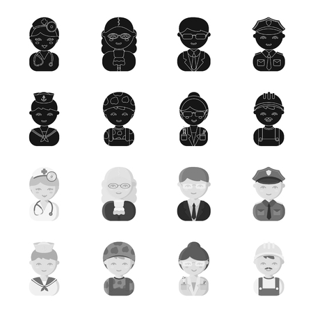 Sailor, soldier, scientist, builder.Profession set collection icons in black,monochrome style vector symbol stock illustration web.