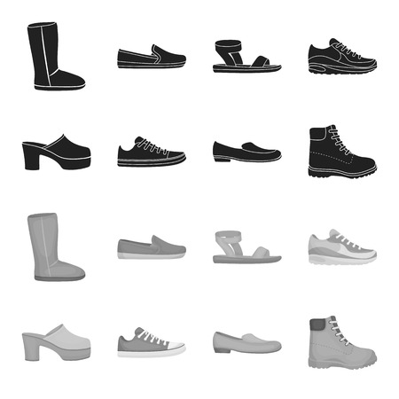 Flip-flops, clogs on a high platform and heel, green sneakers with laces, female gray ballet flats, red shoes on the tractor sole. Shoes set collection icons in black,monochrome style vector symbol stock illustration web. Иллюстрация