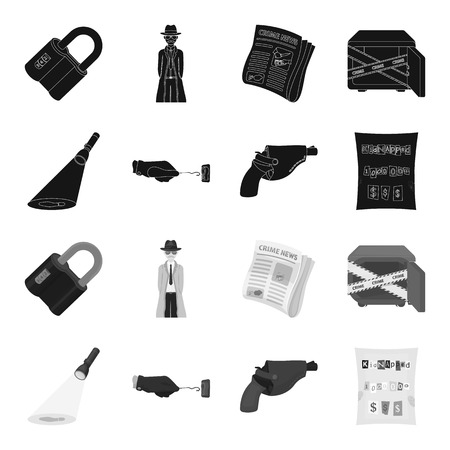 The detective flashlight illuminates the footprint, the criminal hand with the master key, a pistol in the holster, the kidnapper claim. Crime and detective set collection icons in black,monochrome style vector symbol stock illustration web.