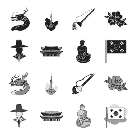 Korean in national headdress, Korean monastery, Buddha figurine, national flag. South Korea set collection icons in black,monochrome style vector symbol stock illustration web.