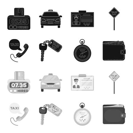 Mobilteil mit der Aufschrift eines Taxis, Autoschlüssel mit Schlüsselanhänger, Stoppuhr mit Fahrpreis, Geldbörse mit Geld, Dollar. Taxiset-Sammlungsikonen in der schwarzen, monochromen Artvektorsymbolvorrat-Illustrationsweb.