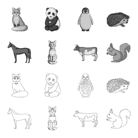 Horse, cow, cat, squirrel and other kinds of animals.Animals set collection icons in outline,monochrome style vector symbol stock illustration web. Illustration