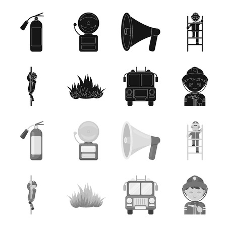 Fireman, flame, fire truck. Fire departmentset set collection icons in black,monochrome style vector symbol stock illustration web.