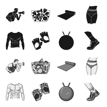 Men torso, gymnastic gloves, jumping ball, sneakers. Fitnes set collection icons in black,monochrome style vector symbol stock illustration web. Zdjęcie Seryjne - 102261733