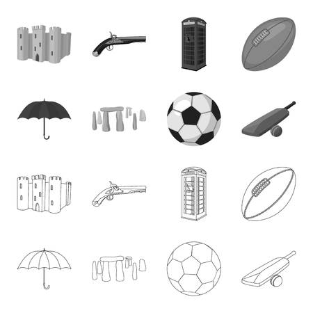 Umbrella, stone, ball, cricket .England country set collection icons in outline,monochrome style vector symbol stock illustration web.